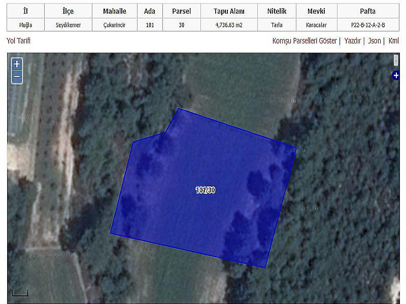 Muğla Seydikemer Şirketten Satılık 4736 m2 Tarla
