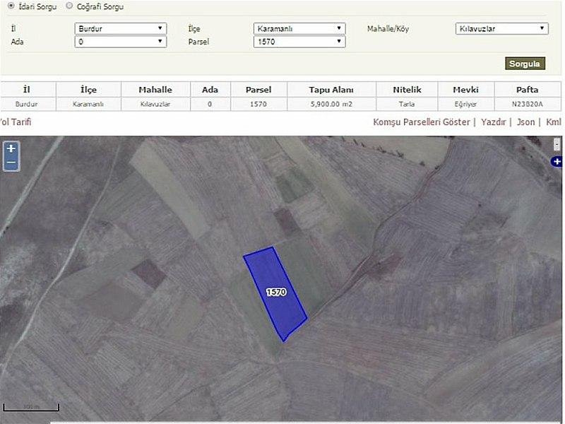 Burdur Karamanlı Bankadan Satılık 5900 m2 Tarla