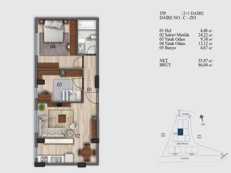 İstanbul Kadıköy Şirketten Satılık 86 m2 Daire