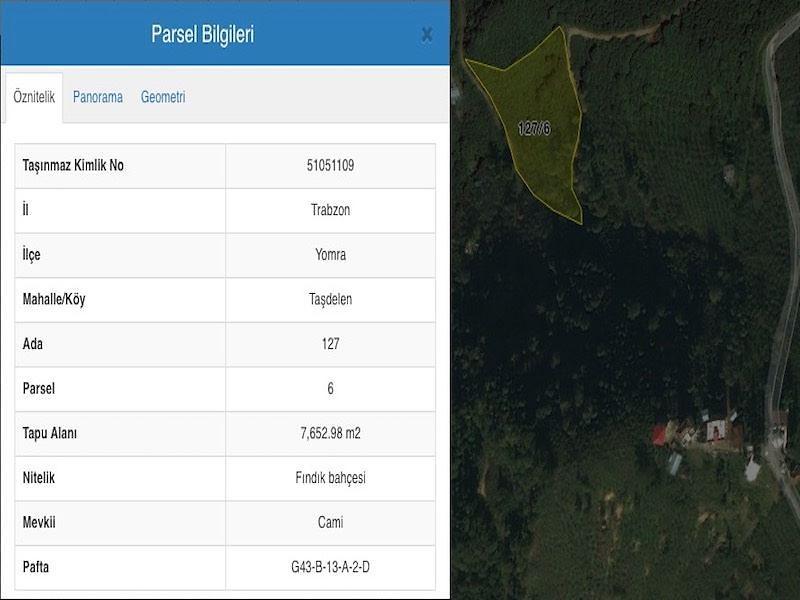 Trabzon Yomra Sahibinden Satılık 7652 m2 Tarla