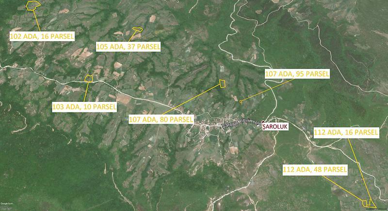 Balıkesir Gönen Şaroluk Köyü'nde Toplam 59.816 m2 7 Tarla