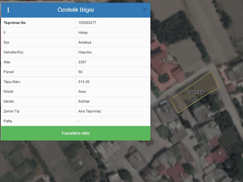 Hatay Antakya Maşukiye Mahallesi'nde 514 m2 İmarlı Arsa