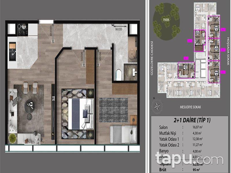 Kağıthane Çeliktepe Marka Projeden 2+1 95 m2 Daireler
