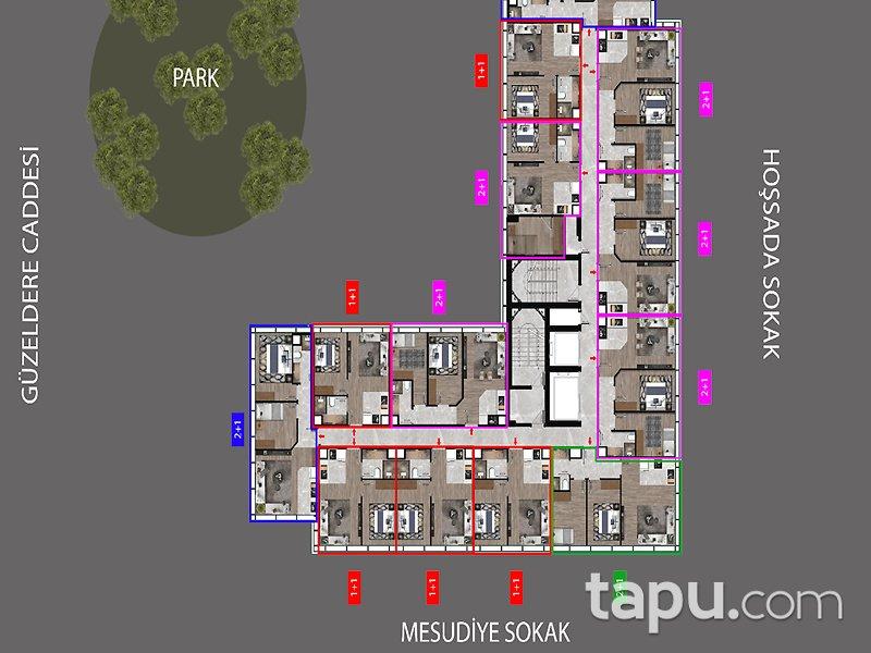 Kağıthane Çeliktepe Marka Projeden 65 m2 1+1 Daireler