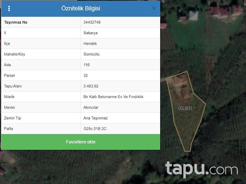 Sakarya Hendek Sümbüllü Mahallesi'nde 2+1 80 m2 Konut ve 3483 m2 Fındıklık
