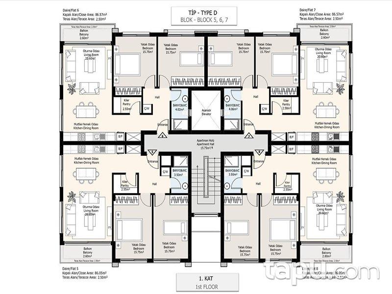 Girne Zeytin Homes'ta Lüks 2+1 Apartman Daireleri