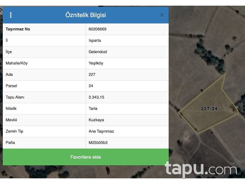 Isparta Gelendost Yeşilköy Mahallesi'nde 3.343 m2 Tarla