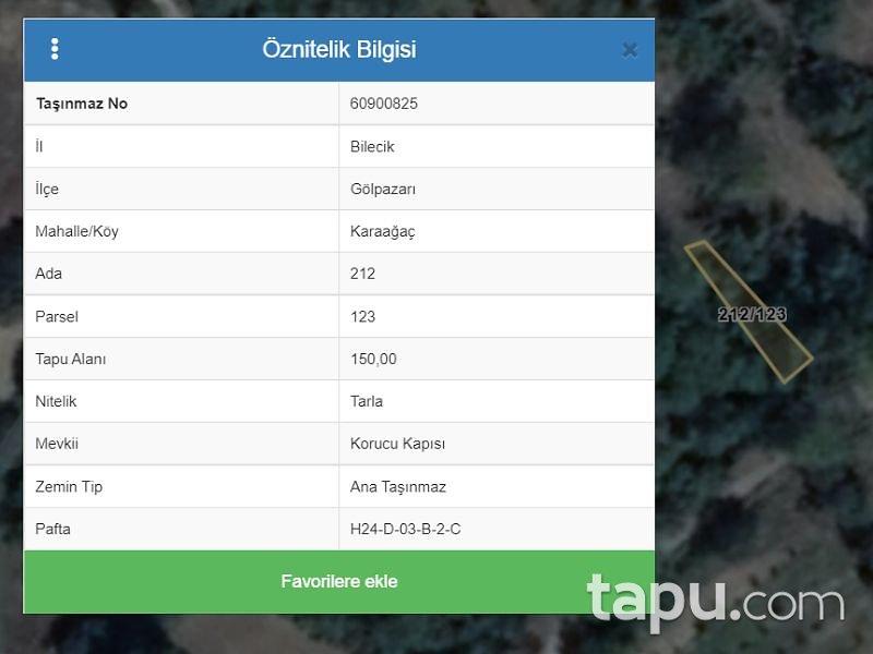 Bilecik Gölpazarı Karaağaç Mahallesi'nde 150 m2 Tarla